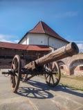 Canon in de citadel van Targu Mures, Roemenië met een toren van het oude kasteel op de achtergrond royalty-vrije stock foto