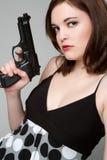 Canon de fixation de fille Image stock