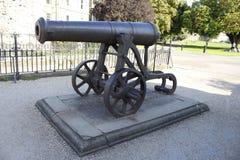 Canon in de gronden van het Kasteel van Rochester Stock Foto's