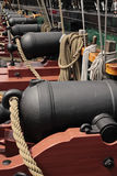 Canon deck. On an old sailing ship Royalty Free Stock Photo