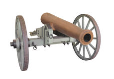 Canon en bronze de champ de baril d'isolement Photo stock