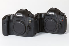 CANON EOS 5DSR and 5Ds DSLR 50 megapixels. Photo of CANON EOS 5DSR and 5Ds DSLR 50 megapixels, full frame photo camers on a white background Stock Image