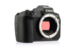 Free Canon EOS R Mirrorless Digital Camera With Dual Pixel AF On A White Background Stock Images - 130880064