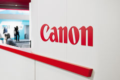 Canon exhibition stand at Cologne. Cologne, Germany - September 21, 2013: Canon exhibition stand at Photokina - World of Imaging in Cologne, Germany. The stock photography