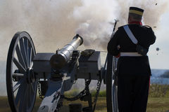 Cannon Fires Royalty Free Stock Photo