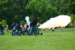 Canon Firing. Memorial Day celebrations were carried out all over the United States on Monday, May 31, 2010. This is the ceremony conducted at the Ortonville Stock Photography