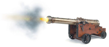 Canon firing. On white background Stock Photography