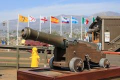 Canon with Flags. At Stearns Wharf, Santa Barbara royalty free stock photos