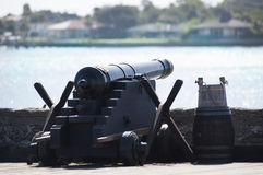 Canon on fort in St.Augustine, Florida. Black canon sitting on top of fort in St.Augustine, Florida with ocean in background Royalty Free Stock Images