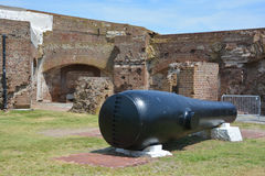 Canon Fort Sumter. CHARLESTON SC 06 25 2016: Canon Fort Sumter is a sea fort in Charleston notable for 2 battles of the American Civil War. was one of a number Royalty Free Stock Image