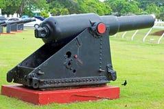 Canon histórico en Garrison Savannah en Barbados Imágenes de archivo libres de regalías