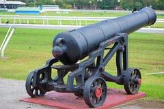 Canon histórico en Garrison Savannah en Barbados Imagen de archivo libre de regalías