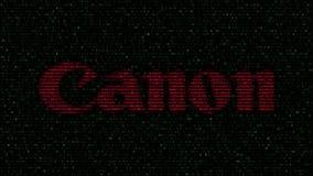 canon Inc.是专门化想象和光学产品制造,包括照相机、摄象机、复印机、steppers和计算机打印机的日本跨国公司 商标由闪动的十六进制标志做成在屏幕 社论3D翻译 影视素材