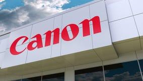 Canon Inc. logo on the modern building facade. Editorial 3D rendering. Canon Inc. logo on the modern building facade. Editorial 3D stock video