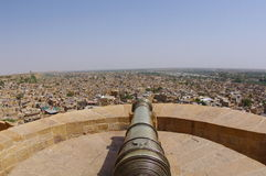 Canon on Jaisalmer Fort Rampart. The Jaisalmer fort, also known as Sonar Qila or the Golden fort after its luminous golden sandstone, is the second oldest fort Royalty Free Stock Photo