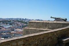 Canon in São Jorge Castle overlooking Lisbon Portugal. Stock Photos
