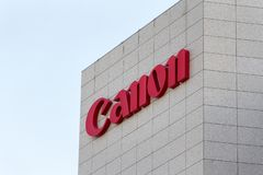 Canon logo on Canon building. MADRID, SPAIN - MARCH 9, 2019. Canon logo on Canon building. Canon is a Japanese multinational corporation specializing in the royalty free stock photo