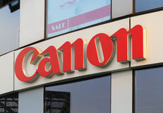 Canon Logo. In the wall stock photography