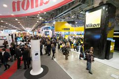 Canon and Nikon stands at Photo Expo Stock Images