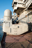 Canon op een slagkruiser, klaar in brand te steken? Royalty-vrije Stock Foto's