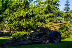 Canon in the park. Big canon in the green park in city of Ankara during the springtime Royalty Free Stock Image