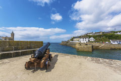 Canon in Porthlevan historic port entrance Stock Image