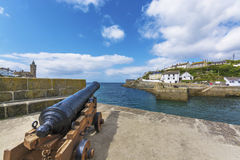 Canon in Porthlevan historic port entrance Royalty Free Stock Photography