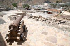 Canon in Ras Al Hadd castle. In Sur, Oman royalty free stock image