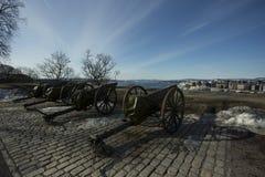 Canon real en el castillo en Oslo foto de archivo