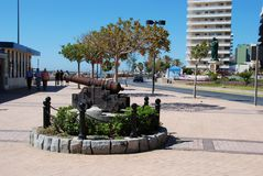 Canon on seafront, Fuengirola. Royalty Free Stock Photo