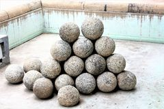 The canon shots. The canon balls on display. these belong to late eighteenth century India Royalty Free Stock Photo