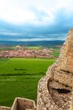 Canon and Spis hrad view. Spis hrad view from the walls and tower of castle in Slovakia with canon stock photos