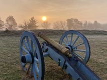 Canon at sunrise. Canon, valley, forge, valley forge, sunrise, winter, canons Royalty Free Stock Photos