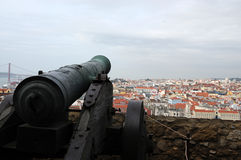 Canon. View taken from Castelo do Sao George (Saint Georges Castle ) in Lisbon, Portugal Stock Photography