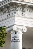 Canonball - Civil War Battle of Lexington. Famous Civil War Landmark. Original canon ball still in place where it struck the courthouse pillar during the battle Stock Photos