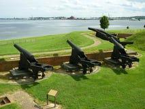 Canones de la guerra civil de McHenry de la fortaleza Imagen de archivo
