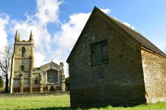 Canoni Ashby Church e posatoio del pipistrello Fotografie Stock Libere da Diritti