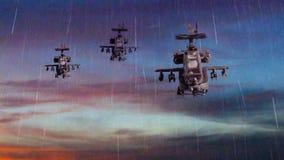 Canonnières militaires volant avec le ciel dramatique Photo stock