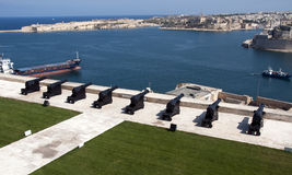 Canons as defence of the city Valetta. On Malta Stock Photography