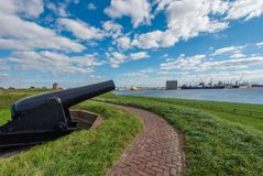 Canons au fort McHenry, ? Baltimore, le Maryland images stock