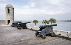 Spanish Fort in St. Augustine Florida. Canons in Castillo de San Marcos, St. Augustine, Florida Stock Images