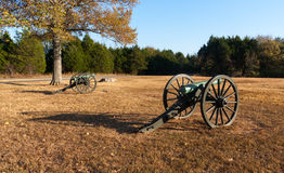 Canons at Civil War Battlefield Royalty Free Stock Photos