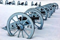 Canons de guerre d'artillerie au parc national de forge de vallée Images libres de droits