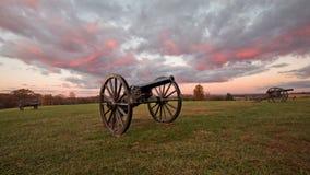 Canons de lever de soleil à la course de Taureau de champ de bataille de Manassas Photographie stock