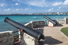 Canons facing out to sea, Needhams Point Barbados Royalty Free Stock Photos