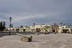 Canons in front of flagged Royal Palace Rabat, Morocco Stock Photography