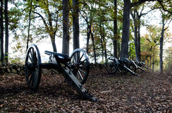 Canons historiques de guerre civile de Gettysburg photographie stock libre de droits