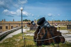 Canons inside old fortress in Corfu island, Greece Royalty Free Stock Photos