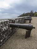 The canons. Canons lined up overlooking sea Stock Images
