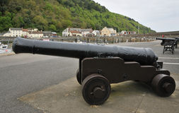 Canons, Minehead Old Harbour. Old Canons at Minehead Old Harbour, Somerset Stock Image